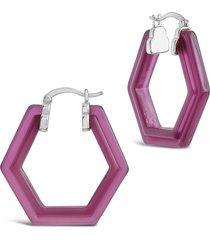 sterling forever sangria hexagonal acrylic hoop earrings in silver/sangria at nordstrom
