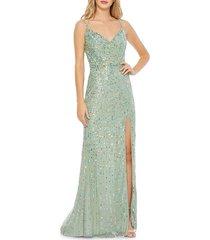 mac duggal women's sequin front-slit sheath gown - sage - size 0
