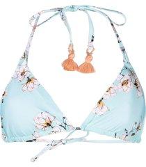 pq swim floral-print bikini top - blue