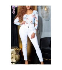 sexy hoge taille jeans met knopen wit