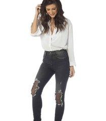 calça jeans denim zero skinny média patchs feminina