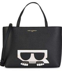 karl lagerfeld paris women's maybelle boxy faux leather tote - black multi
