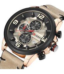 curren orologi al quarzo in pelle con cronografo 30m orologi da uomo impermeabili