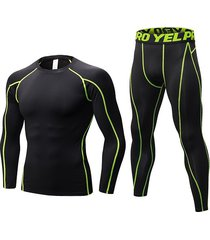 traje deportivo de manga larga ajustado con letras deportivas para hombre