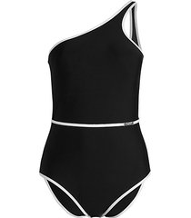 belted one-shoulder one-piece swimsuit