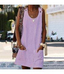 zanzea partido de las mujeres vestido de tirantes sin mangas de la túnica casual club de playa vestido de la raya -rosado