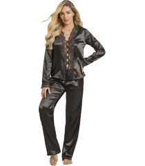 pijama dos piezas pantalon largo adriana arango 8642 negro
