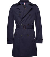 cotton trench coat trenchcoat lange jas blauw tommy hilfiger tailored