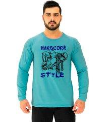 camiseta manga longa alto conceito hardcore style azul beb㪠- azul - masculino - algodã£o - dafiti