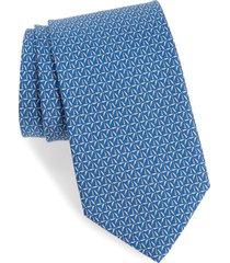 men's salvatore ferragamo molina wind turbine print silk tie, size regular - blue
