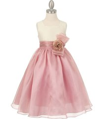 ivory rose two tone organza square neck matching corsage party flower girl dress