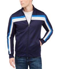 club room men's crossbody stripe track jacket, created for macy's