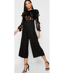 all over lace ruffle culotte jumpsuit, black