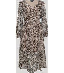 vestido feminino animal print midi transparente manga longa decote redondo marrom