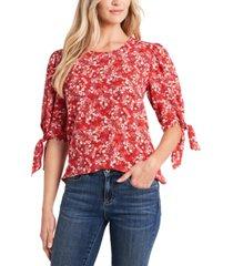 cece marabella ditsy-print tie-sleeve blouse