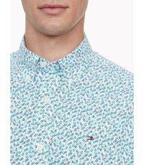 tommy hilfiger men's classic fit essential floral print shirt sky valley green - xs