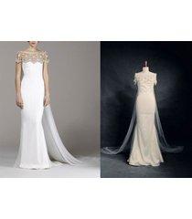 rosyfancy art deco-inspired beaded neck watteau train column wedding dress