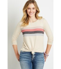 maurices womens 24/7 pieced stripe cozy baseball tee beige