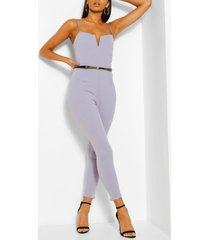 plunge belted skinny jumpsuit, silver grey