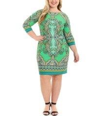 london times plus size printed shift dress