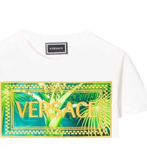 young versace white t-shirt with multicolor press