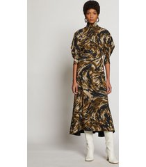 proenza schouler feather print draped puff sleeve dress fatigue/black/tan feather/green 8