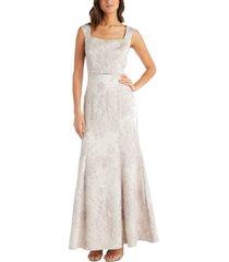 r & m richards embellished-waist brocade gown