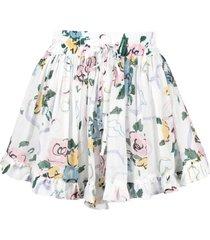alessandra rich floral-print wide-leg shorts - white