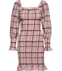 cotton silk korte jurk roze ganni