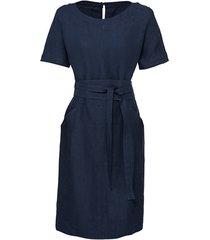 linnen jurk met korte mouw, bindceintuur en zakken, nachtblauw 42
