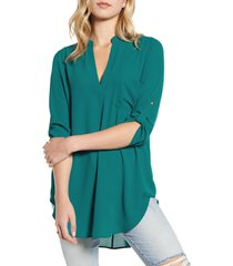 women's all in favor perfect henley tunic, size small - green