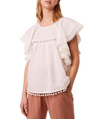 french connection women's cadenza lace & pom-pom trimmed top - summer white - size 0