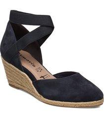 woms slip-on sandalette med klack espadrilles blå tamaris