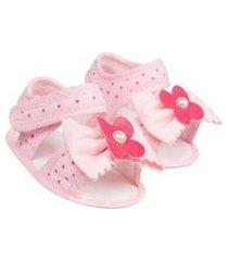 sandália bebê flor poá (p/m/g/gg) - baby soffete - tamanho gg - pink,rosa