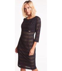 czarna sukienka koronkowa z beżową podszewką