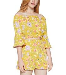 bcbgeneration floral-print off-the-shoulder top