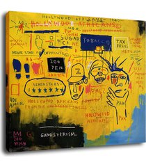 """art decor oil painting print on canvas jean-michel basquiat""""hollywood africans"""""""