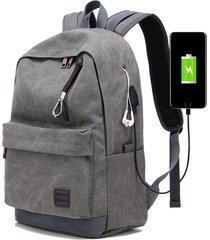 mochila con puerto externo de usb y audífonos unisex-gris