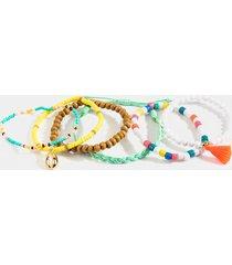 women's ashtin beaded bracelet set in multi by francesca's - size: one size