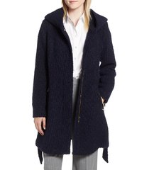 women's cole haan signature belted boucle wool blend coat