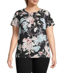 karl lagerfeld paris women's plus bow-neck floral top - black multicolor - size 2x (18-20)