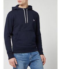 maison kitsune men's tricolor fox patch hoodie - navy - l - black