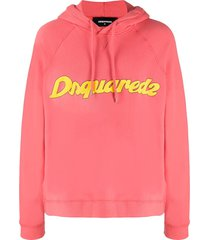 dsquared2 logo-print hooded sweatshirt - pink