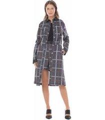 trench coat com abotoamento cinza pp