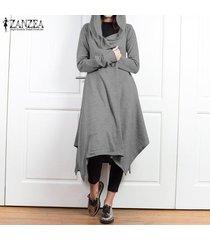 zanzea mujer casual chaqueta asimétrica abrigo con capucha túnica abrigo largo -gris claro