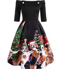 christmas dog print off shoulder button embellished dress