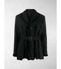 comme des garçons noir kei ninomiya faux fur panel belted jacket