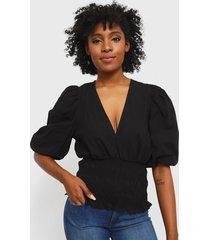 blusa colcci negro - calce ajustado