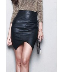 new asymmetric short leather skirt women 2017 sexy slim feminina high waist