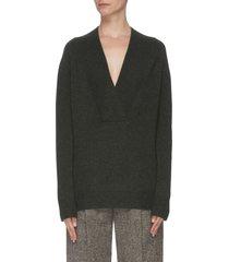 shawl collar cashmere wool blend sweater